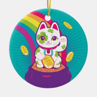 Ornamento De Cerâmica Pote de boa sorte de Maneki Neko do gato de ouro