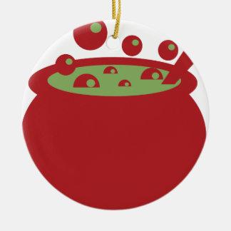 Ornamento De Cerâmica Pote vermelho e verde do cozinhar