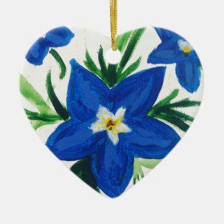 Ornamento De Cerâmica pouca coleção azul da flor