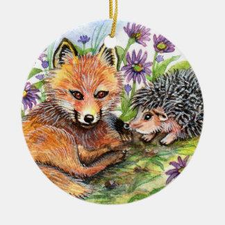 Ornamento De Cerâmica Poucos Fox e ouriço