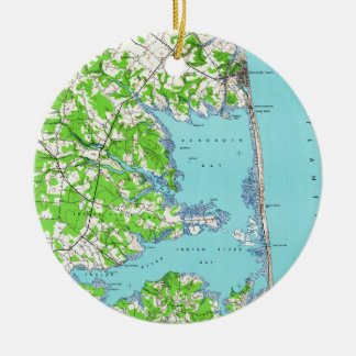 Ornamento De Cerâmica Praia de Rehoboth & praia Delaware Mapa de Bethany