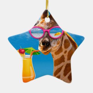 Ornamento De Cerâmica Praia do girafa - girafa engraçado