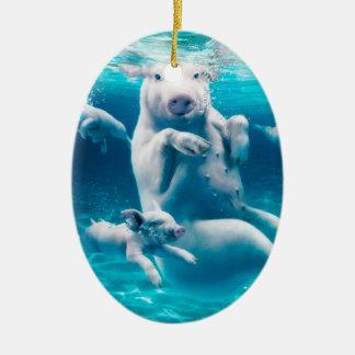 Ornamento De Cerâmica Praia do porco - porcos da natação - porco