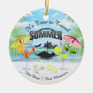 Ornamento De Cerâmica Praia tropical, férias de verão | personalizada