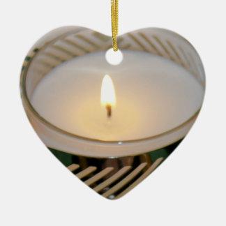 Ornamento De Cerâmica Prata Candleholderv2 da vela do feriado do Natal