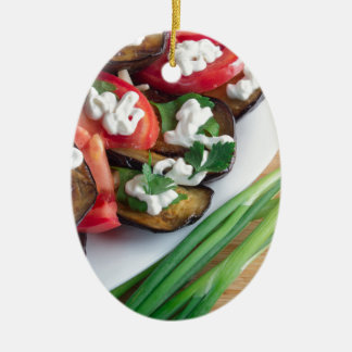 Ornamento De Cerâmica Prato de vegetariano da beringela stewed