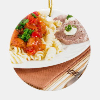 Ornamento De Cerâmica Prato do almoço da massa italiana, molho vegetal