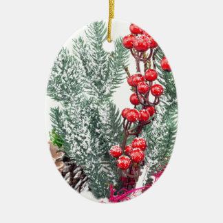 Ornamento De Cerâmica Prato do Natal com a decoração dos cogumelos das