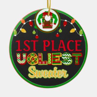 Ornamento De Cerâmica Prêmio feio do vencedor do feriado do Natal da