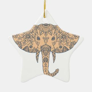 Ornamento De Cerâmica Presa principal Mandalaa do elefante