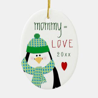 Ornamento De Cerâmica Presente bonito do Natal do pinguim das MAMÃES do
