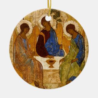 Ornamento De Cerâmica Presente católico bizantino de Rublev do ícone da