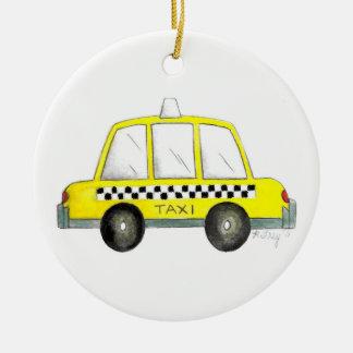 Ornamento De Cerâmica Presente Checkered do táxi da Nova Iorque amarela