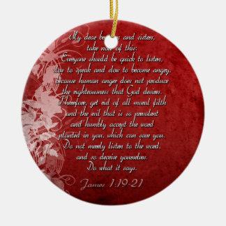 Ornamento De Cerâmica Presente da escritura do 1:19 de James