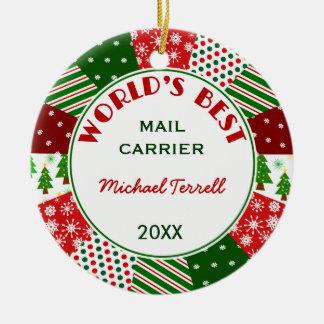 Ornamento De Cerâmica Presente do Natal da pessoa do correio ou da