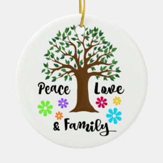 Ornamento De Cerâmica Presente do Natal da reunião da árvore genealógica