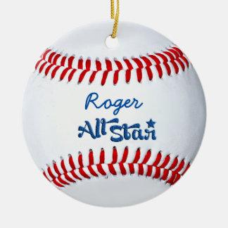 Ornamento De Cerâmica Presente personalizado do jogador de beisebol