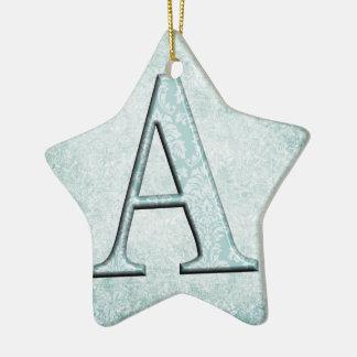 Ornamento De Cerâmica Presentes azuis das iniciais do monograma do