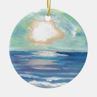Ornamento De Cerâmica Presentes de época natalícia de Sun do surf do mar
