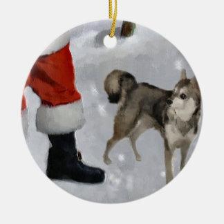 Ornamento De Cerâmica Presentes do Alasca do Natal de Klee Kai