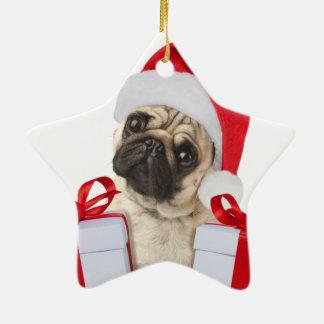 Ornamento De Cerâmica Presentes do Pug - cão claus - pugs engraçados -