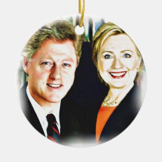 Ornamento De Cerâmica Presidente Bill Clinton & presidente Hillary
