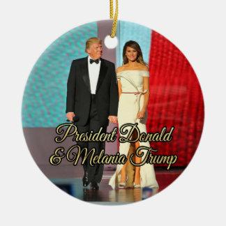 Ornamento De Cerâmica Presidente Donald Trump & foto de Melania