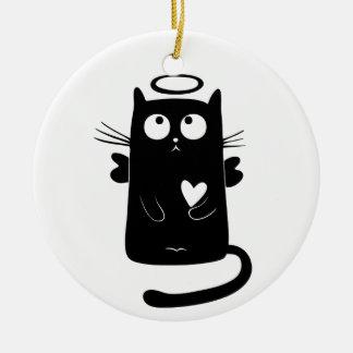 Ornamento De Cerâmica Preto angélico do gatinho