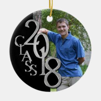 Ornamento De Cerâmica Preto da classe 2018 e foto graduada da prata