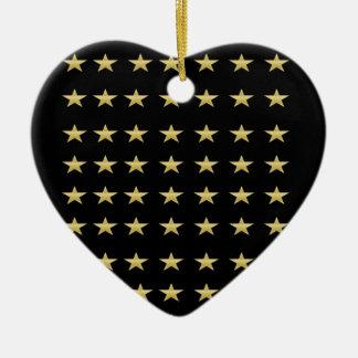 Ornamento De Cerâmica Preto das estrelas afortunadas com design das