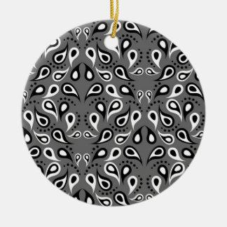 Ornamento De Cerâmica Preto do impressão do design do teste padrão de