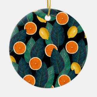 Ornamento De Cerâmica preto dos limões e das laranjas