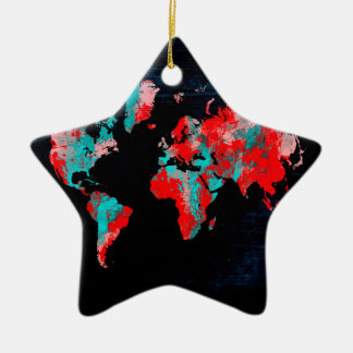 Ornamento De Cerâmica preto vermelho do mapa do mundo