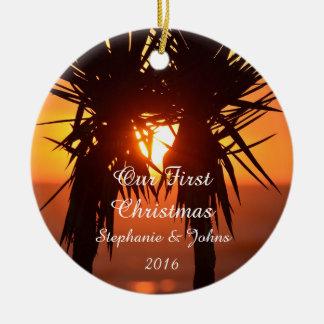 Ornamento De Cerâmica Primeira alegria da paz do amor do Natal para