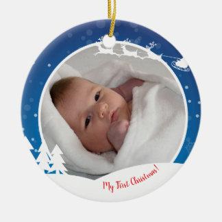 Ornamento De Cerâmica Primeira foto do bebê do Natal