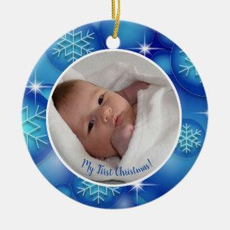 Ornamento De Cerâmica Primeira foto do bebê do Natal com teste padrão