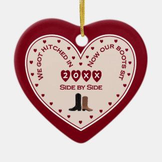 Ornamento De Cerâmica Primeiramente presente ocidental casado ø Natal do