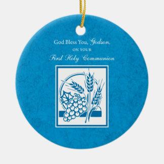 Ornamento De Cerâmica Primeiro comunhão do Godson, trigo, uvas azuis