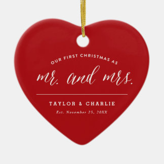 Ornamento De Cerâmica Primeiro Natal como o Sr. & a Sra. Feriado Foto