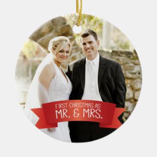 Ornamento De Cerâmica Primeiro Natal como o Sr. & a Sra. Foto