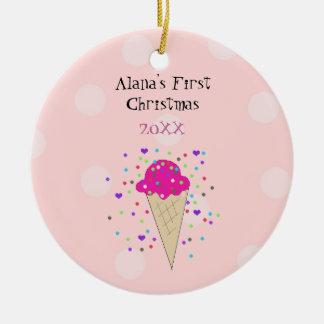 Ornamento De Cerâmica Primeiro Natal do bebê cor-de-rosa do cone do