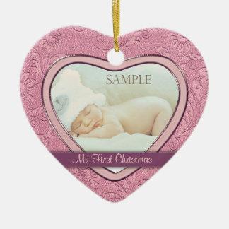 Ornamento De Cerâmica Primeiro Natal do bebê cor-de-rosa do redemoinho