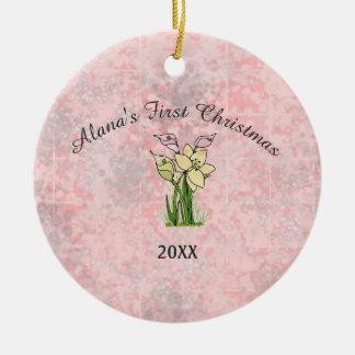 Ornamento De Cerâmica Primeiro Natal do bebê de mármore cor-de-rosa