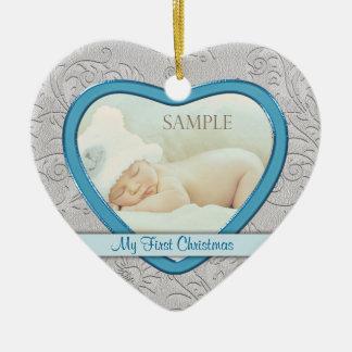 Ornamento De Cerâmica Primeiro Natal do bebé de prata do redemoinho do