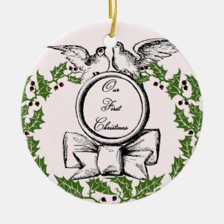 Ornamento De Cerâmica Primeiro Natal do vintage