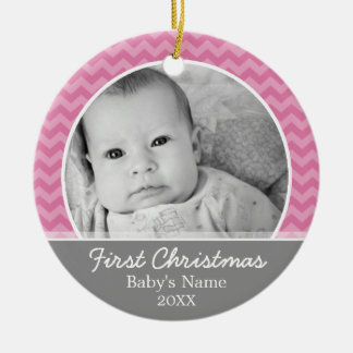 Ornamento De Cerâmica Primeiro Natal dos bebês - vigas e cinzas