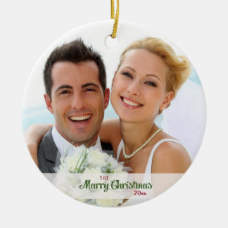 Ornamento De Cerâmica Primeiros do Natal Newlyweds junto