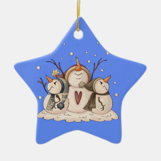 Ornamento De Cerâmica Primitivo do país do inverno do floco de neve do