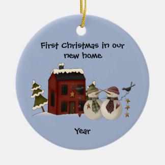 Ornamento De Cerâmica Primitivo - primeiro Natal em nossa casa nova