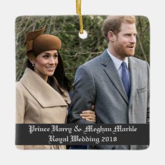 Ornamento De Cerâmica Príncipe Harry & casamento real 2018 de Meghan